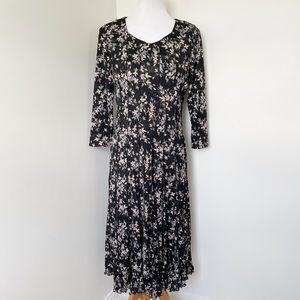 NORM THOMPSON Floral Maxi 3/4 Sleeve Dress Size M